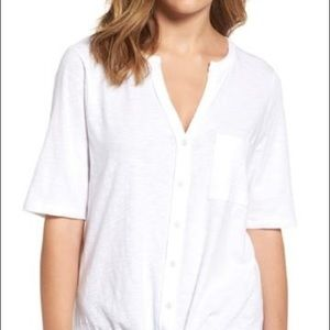 Caslon button down tie front tee